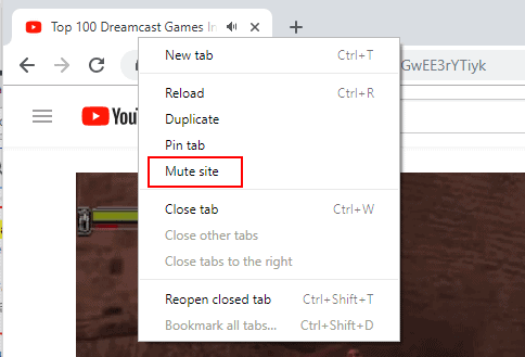 mute site chrome