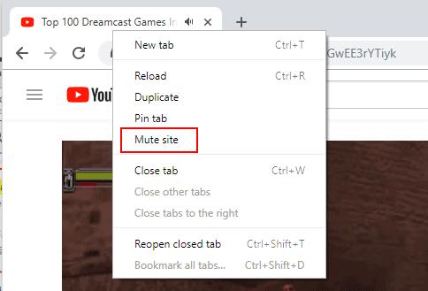 mute site chrome