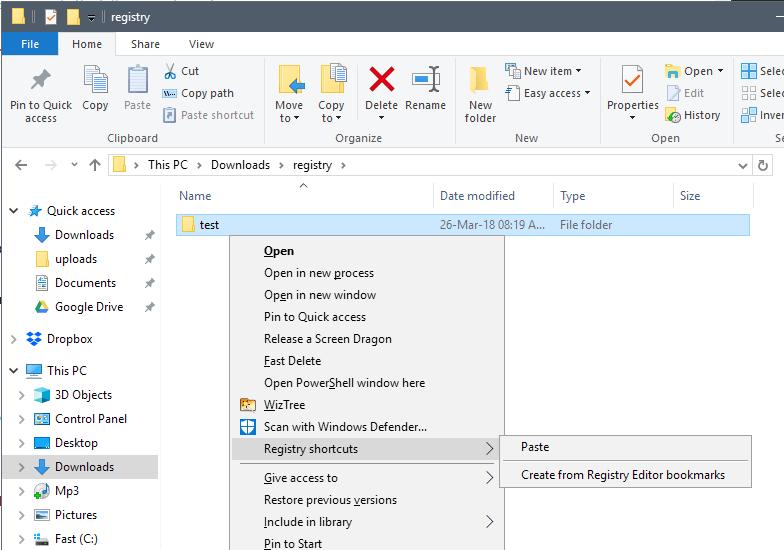 registry shortcuts