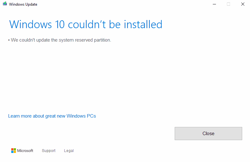 Fix: Windows couldn't be installed. We couldn't update the system reserved partition