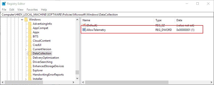 windows 10 set telemetry level registry