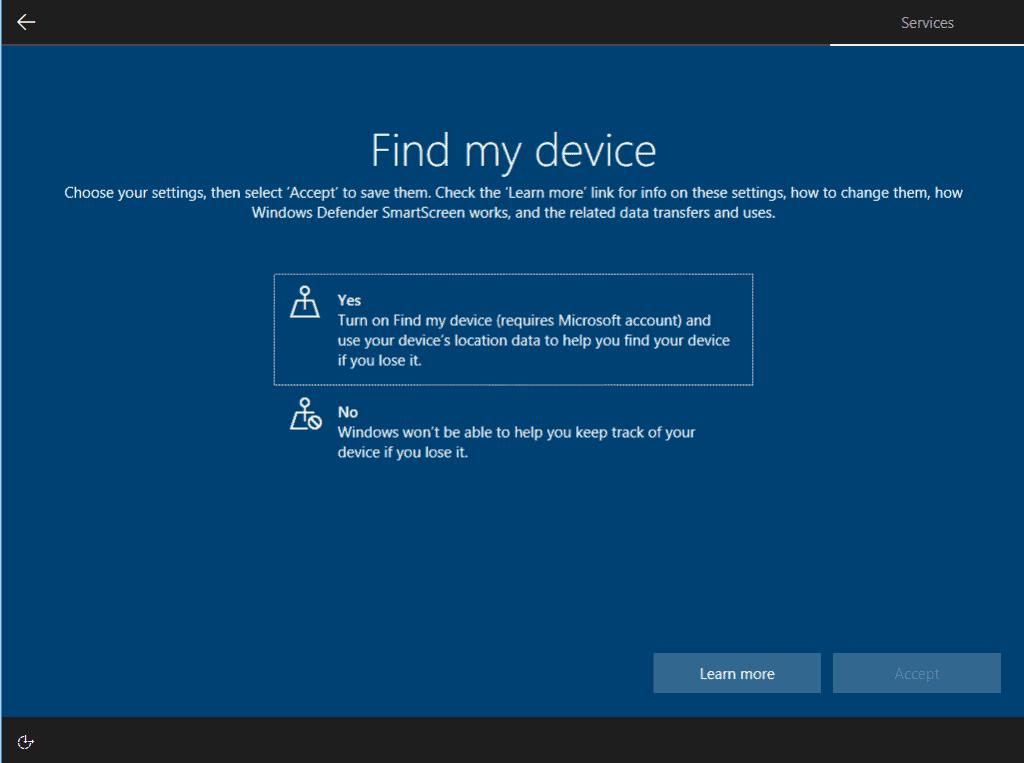 windows 10 setup privacy