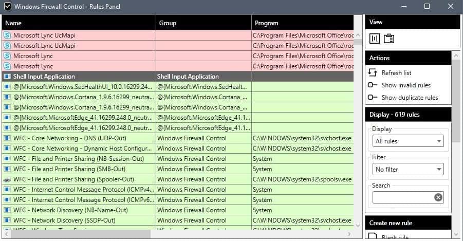 windows firewall control rules