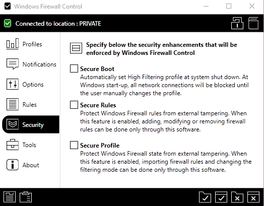windows firewall control secure rules profile
