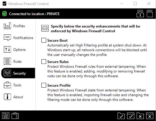 windows firewall control secure rules profile