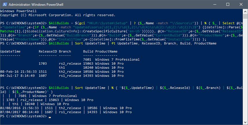 windows upgrade history