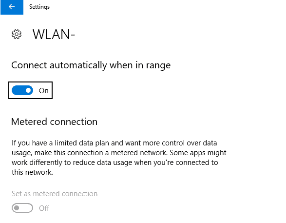 wlan metered connection