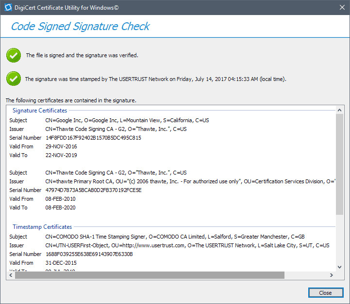 How to verify Digital Signatures of programs in Windows