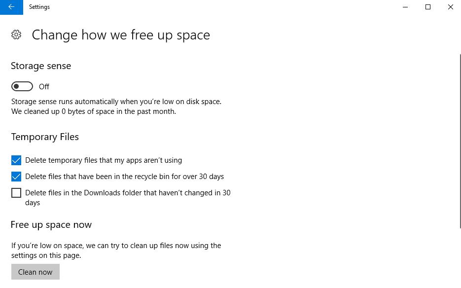 configure windows 10 storage sense