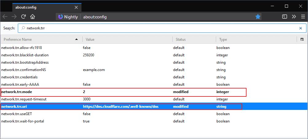 firefox network trr dns over https