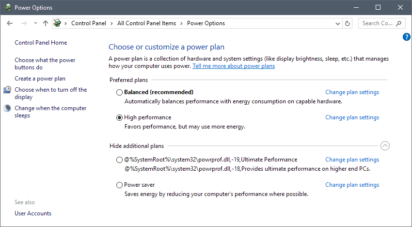 power plans windows