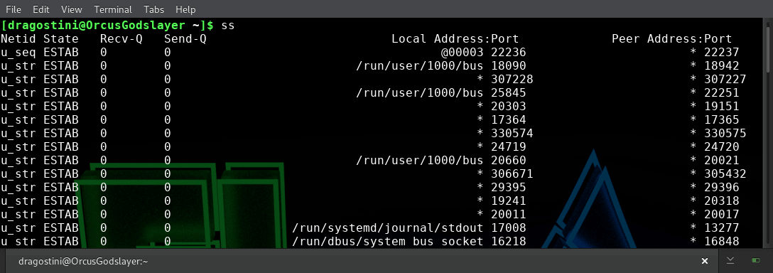 Using SS to monitor connections in GNU/Linux for new users