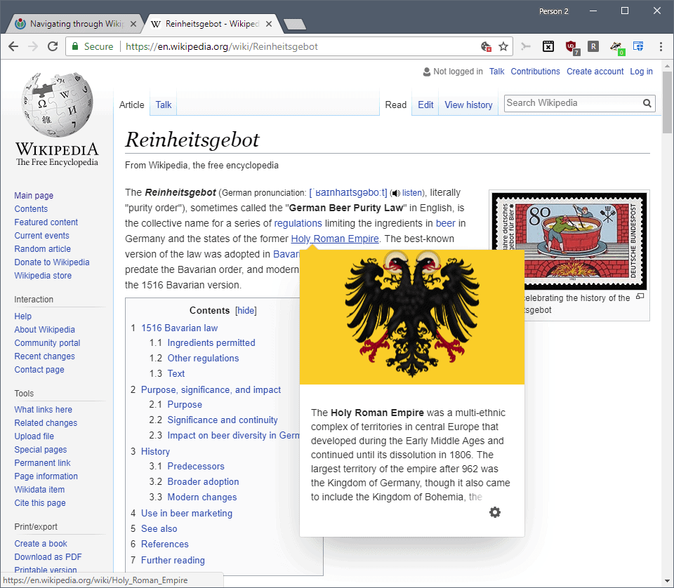 Wikipedia adds page preview functionality