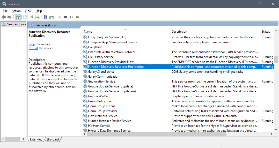 set network discovery windows 10