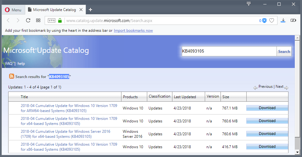 KB4093105 for Windows 10 version 1709