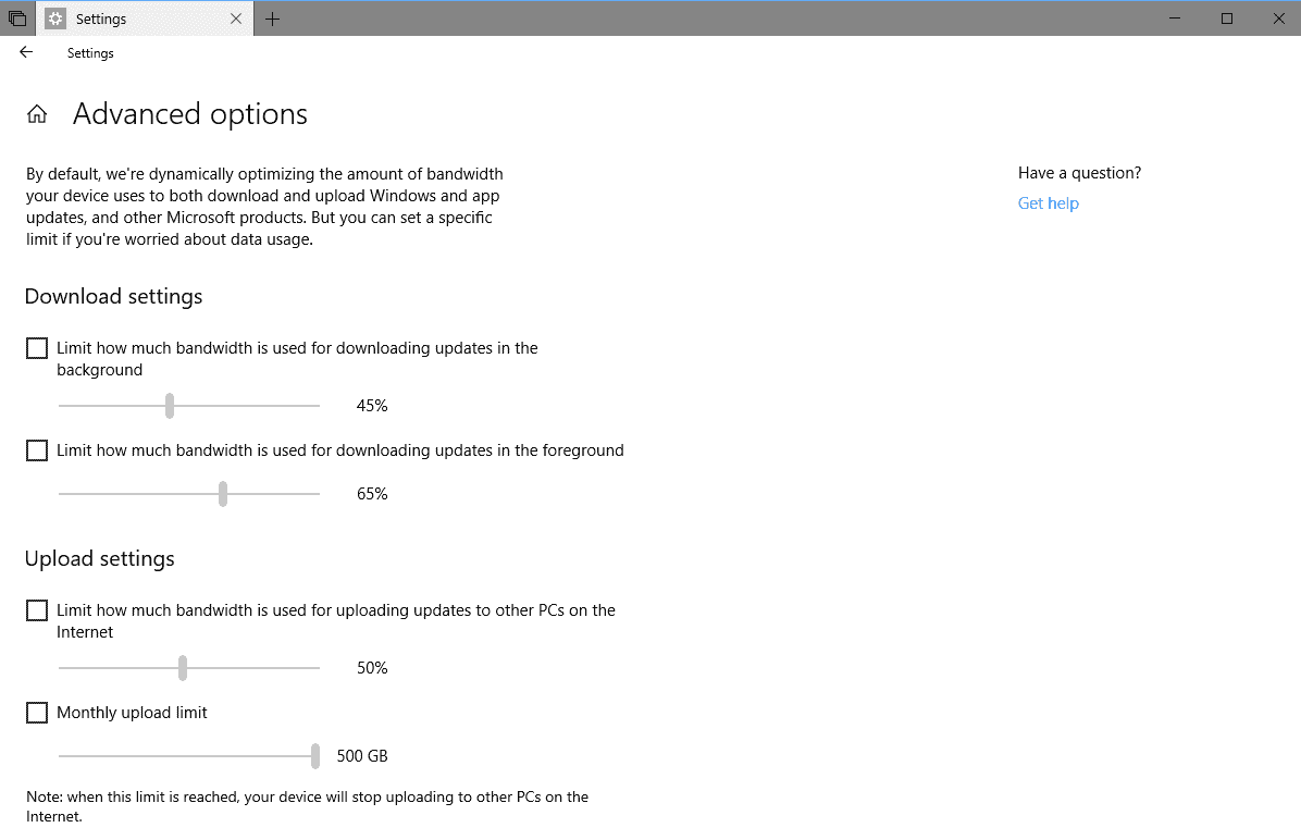 windows update limits