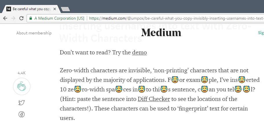 How to detect Zero-Width Characters fingerprinting