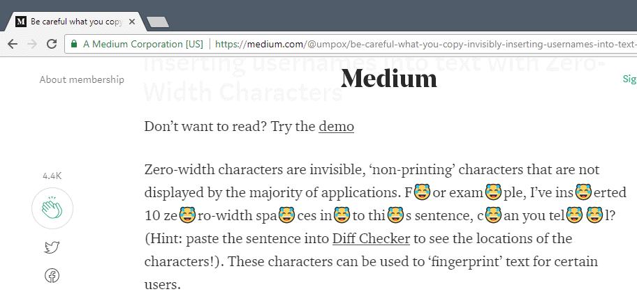 zero-width characters fingerprinting
