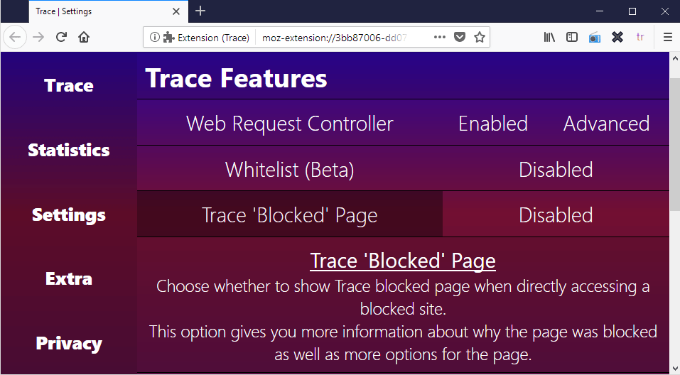 anti tracking extension trace