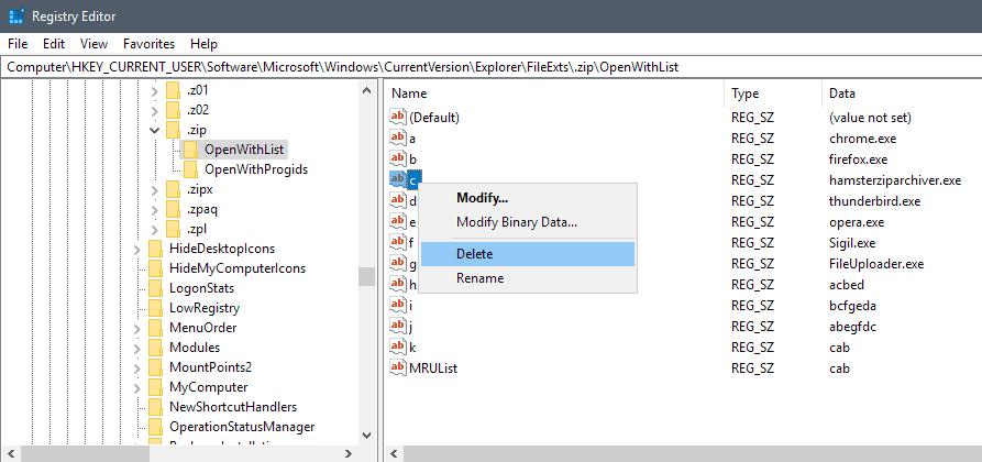 delete open with item