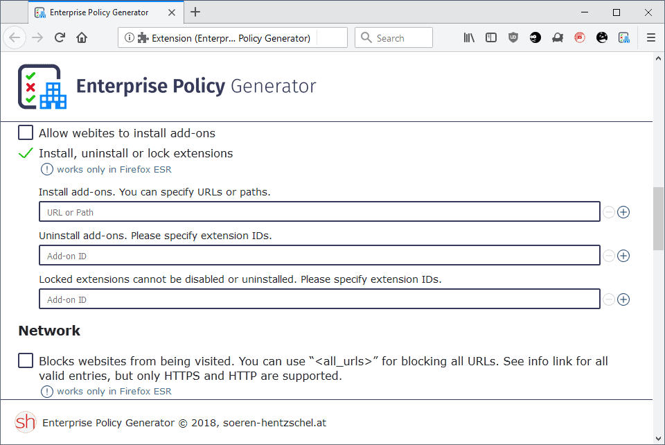 enterprise policy generator configure