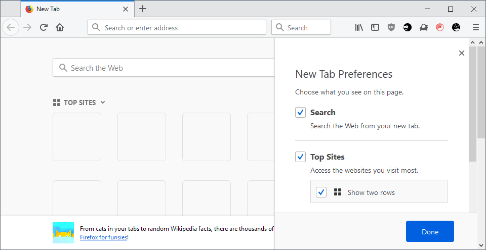 firefox top sites new row