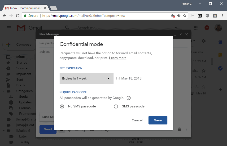 How secure or private is Gmail's new confidential mode