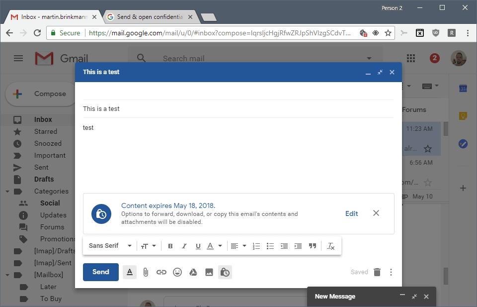 gmail passcode email expiration