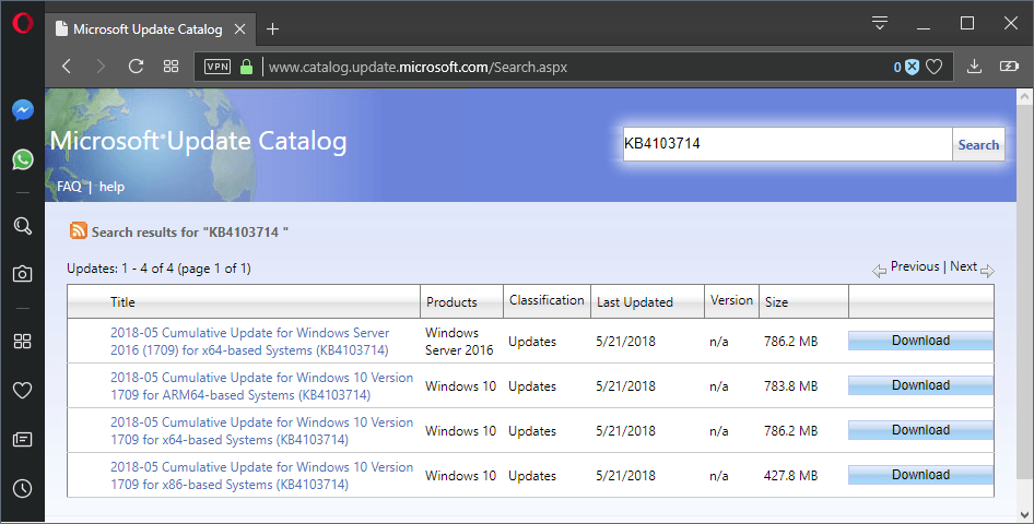 KB4103714 cumulative update for Windows 10 version 1709