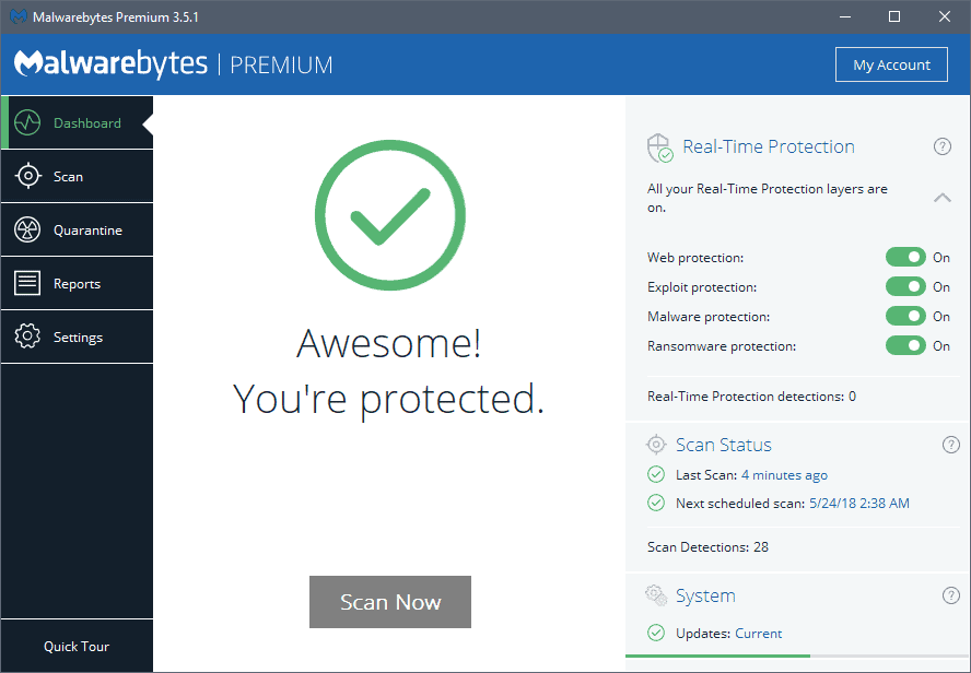 A look at Malwarebytes 3.5.1