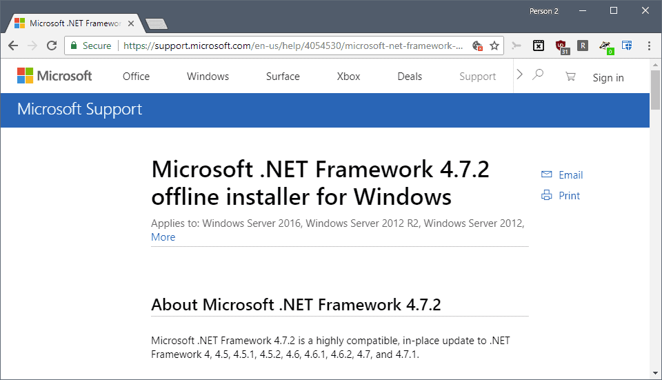 Microsoft .Net Framework 4.7.2 released