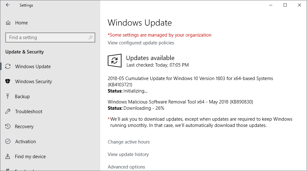 Microsoft Windows Security Updates May 2018 release overview