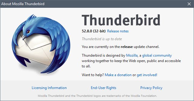Thunderbird 52.8.0 security update released