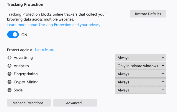 tracking protection improved