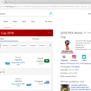 bing world cup 2018 predictions