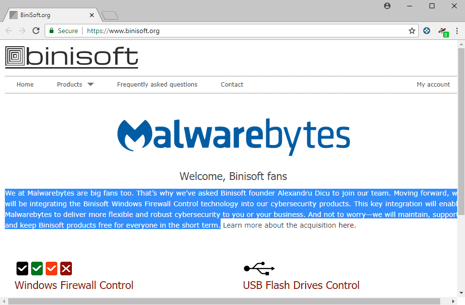 Malwarebytes' acquisition of Windows Firewall Control maker Binisoft