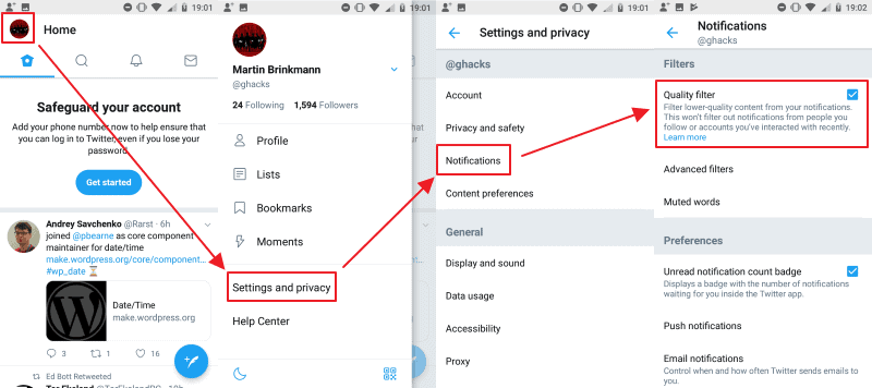 disable quality filter android