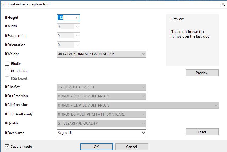 edit font values windows 10