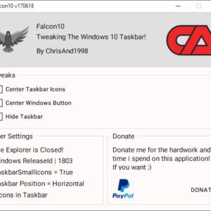 falcon center icons windows 10 taskbar