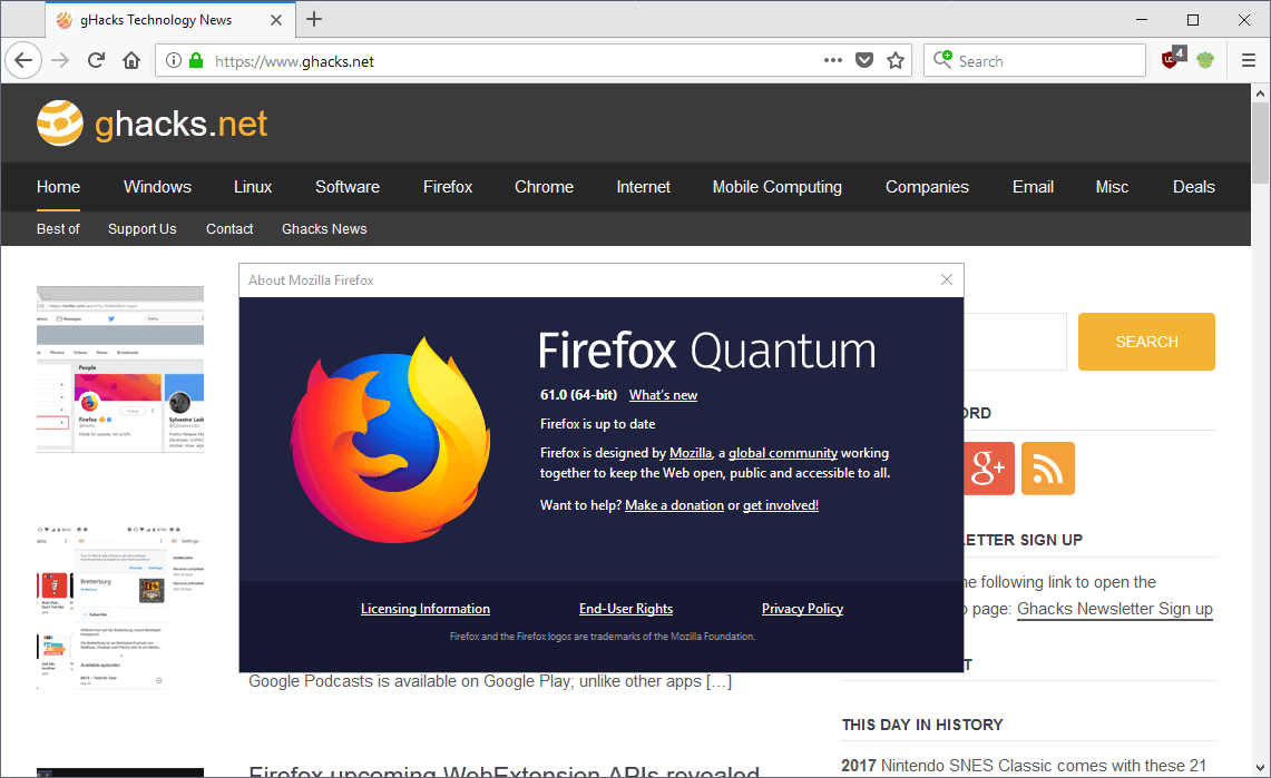 Firefox 61 0 release overview - gHacks Tech News