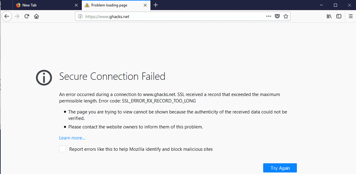 Firefox 61: Fix Secure Connection Failed - gHacks Tech News