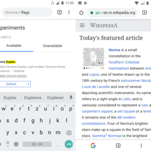 google chrome android duplex