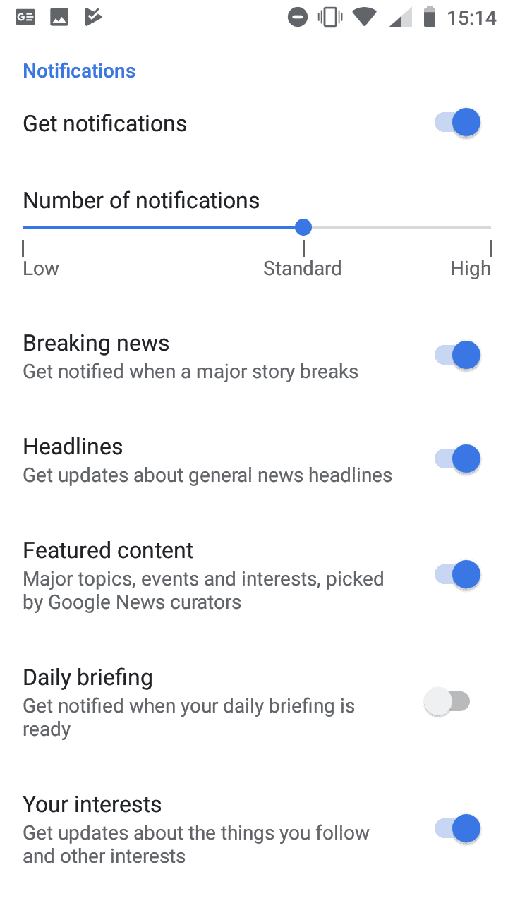 google news notification settings