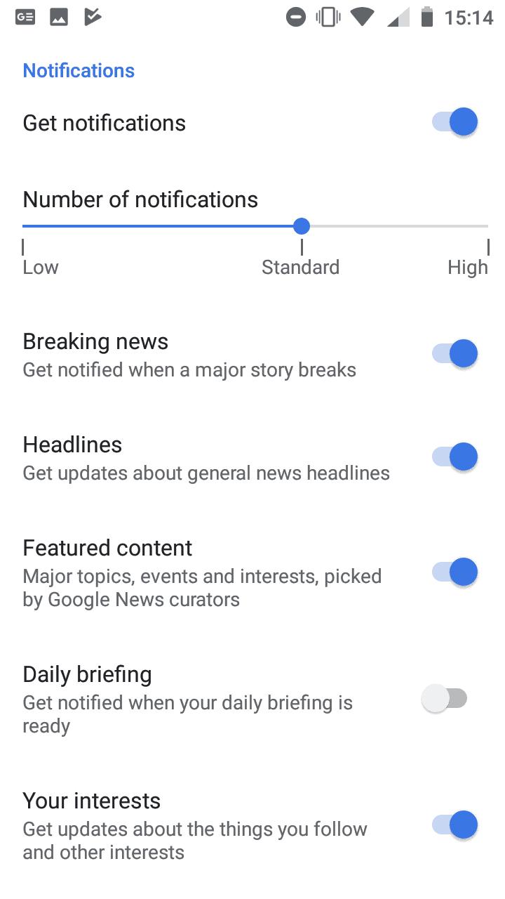 google news notification settings