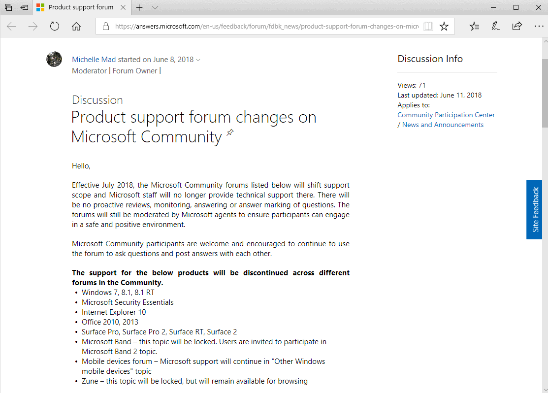 microsoft end forum support windows7 windows8