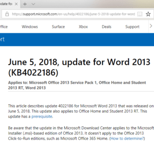office 2013 june 2018 patches