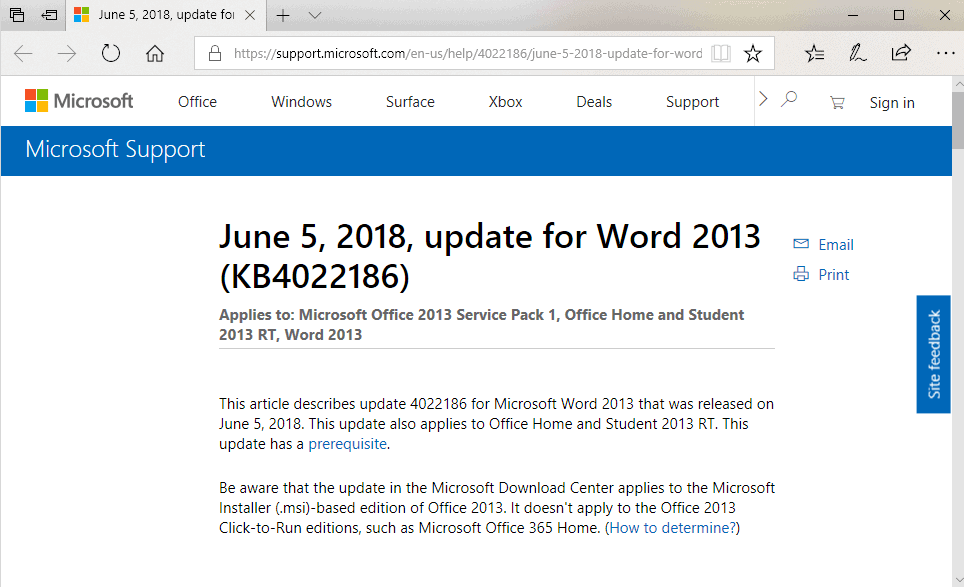 Microsoft Office 2018 patch