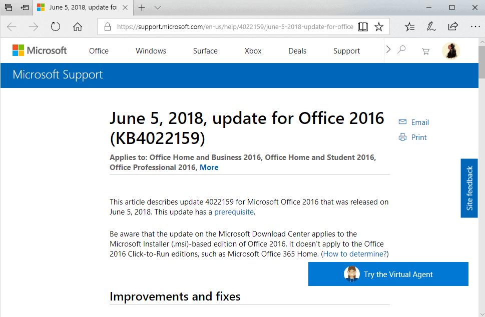 office 2016 june 2018 updates