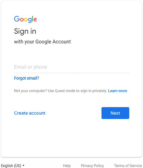 Old Google login