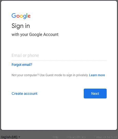 Old Google login